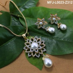 CZ Stones Flower Design With Pearl Gold Plated Finish Pendant Set With Chain Buy Online