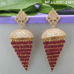 Ruby & Emerald Stones Flowers Design Gold Plated Finish Earrings Buy Online