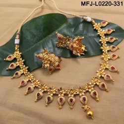 Ruby Stones Lakshmi, Flowers & Balls Design With Balls Drops Mat Finish Necklace Set Buy Online