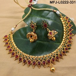 Kempu Stones Flowers & Leaves Design With Balls Drops Mat Finish Necklace Set Buy Online