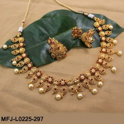 Kempu Stones Thilakam & Balls Design With Balls Drops & Pearls Mat Finish Necklace Set Buy Online