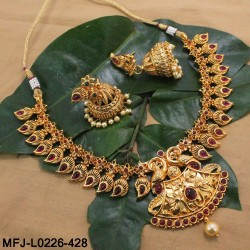 Kempu Stones Flowers & Mango Design With Pearls Drops Mat Finish Necklace Set Buy Online