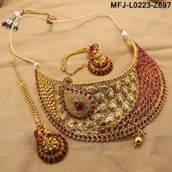 Kempu Stones Peacock & Mango Design With Balls Drops Antique Polish Necklace Set Buy Online