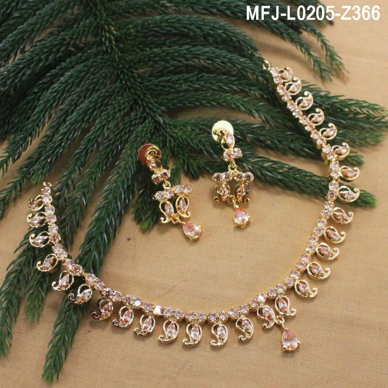 4664abc8cb085f Honey Colour Stones Single Line Design Gold Plated Finish Necklace Set Buy  Online