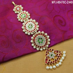 High Quality Kempu & CZ Stones With Pearls Flowers & Peacock Design Headset For Bharatanatyam Dance And Temple Buy Online