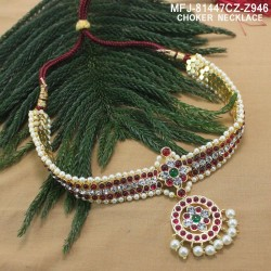 High Quality Kempu & CZ Stones Mango, Flowers & Five Headed Snake Design Necklace For Bharatanatyam Dance And Temple Buy Online