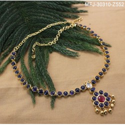 High Quality Kempu & CZ Stones Thilakam & Flowers Design Single Line Necklace For Bharatanatyam Dance And Temple Buy Online