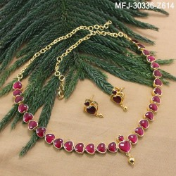 High Quality Kempu Stones Heart Design Single Line Necklace For Bharatanatyam Dance And Temple Buy Online