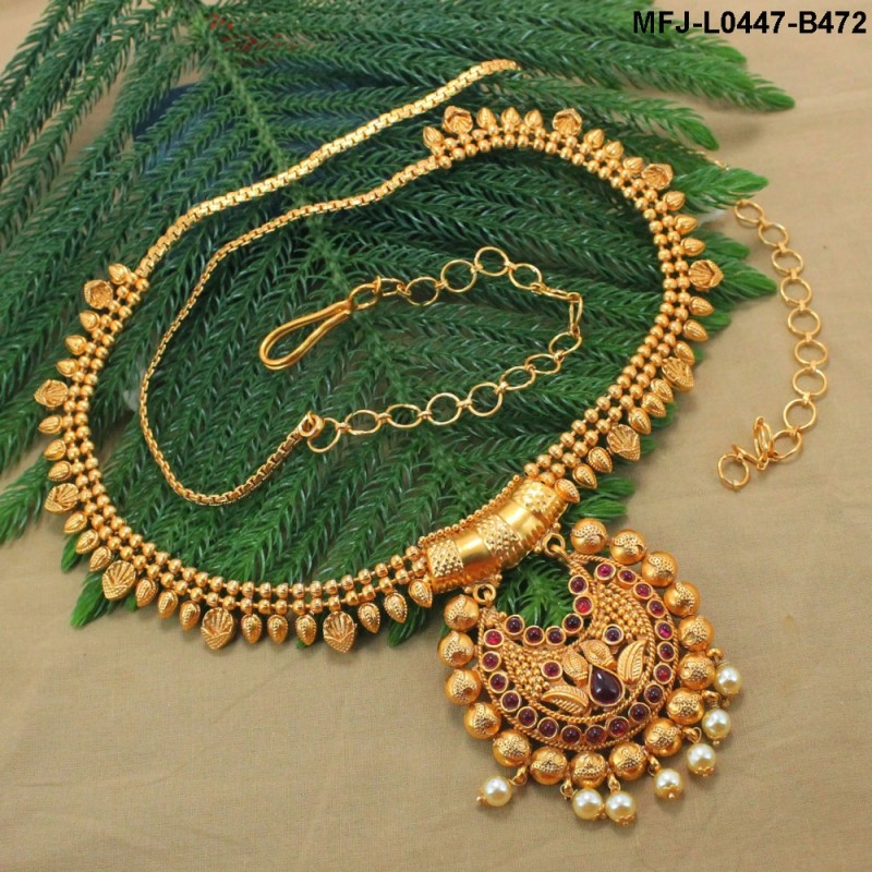 Ruby & Emerald Stones Lakshmi & Peacock Design With Pearls Drops Mat Finish Hip Chain Buy Online