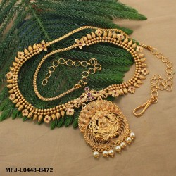 Kempu Stones Leaves & Balls Design With Pearls Drops Mat Finish Hip Chain Buy Online