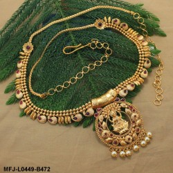 Ruby Stones Lakshmi, Peacock, Flowers & Mango Design With Pearls Drops Mat Finish Hip Chain Buy Online