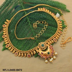 Ruby & Emerald Stones Peacock, Flowers & Mango Design With Pearls Drops Mat Finish Hip Chain Buy Online