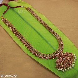 Red & Green  Kempu stone Mango Design Haram  -Temple Necklace-Dance Jewellery Online