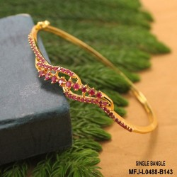 CZ & Ruby Stones Thilakam & Leaves Design Gold Plated Finish Bracelet Buy Online