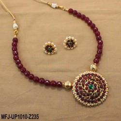 Red & Golden Colour Beads With Golden Colour Polished Moon Design Pendant Chain Set Buy Online