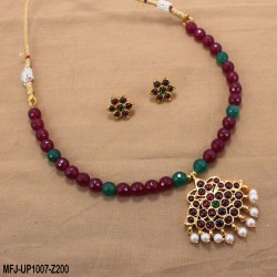 Red & Golden Colour Beads With Golden Colour Polished Moon Design Pendants Chain Set Buy Online