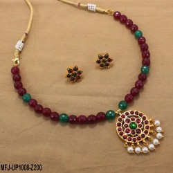 Red & Green Colour Beads With Golden Colour Polished Flower Design Pendant Chain Set Buy Online