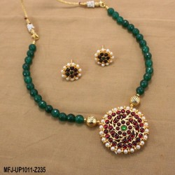 Red & Golden Colour Beads With Golden Colour Polished Flower & Mango Design Pendant Chain Set Buy Online