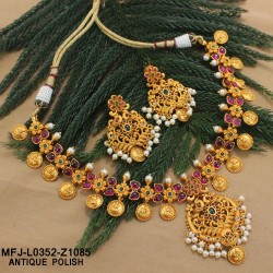 Ruby & Emerald Stones Flowers & Leaves Design With Drops Mat Finish Necklace Set Buy Online