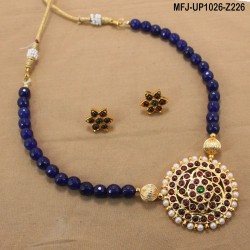 Red & Golden Colour Beads With Golden Colour Polished Flower Design Pendant Chain Set Buy Online