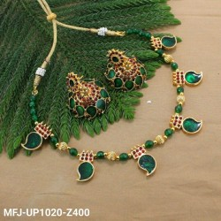 Green & Golden Colour Beads With Golden Colour Polished Moon Design Pendant Chain Set Buy Online