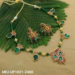 Green & Golden Colour Beads With Multi Colour Stones Golden Colour Polished Mango Design Necklace Set Buy Online