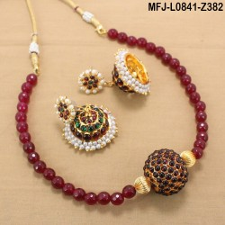 Green & Golden Colour Beads With Golden Colour Polished Kempu Stones Ball Chain Set Buy Online