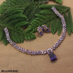 Ruby Stones Leaves & Drop Design Gold Plated Finish Necklace Set Buy Online