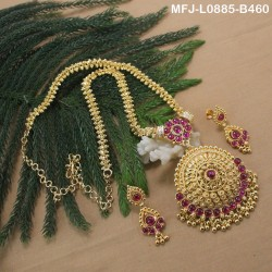 Ruby & Emerald Stones Flowers & Leaves Design With Drops Gold Plated Finish Pendant With Designer Chain Buy Online