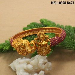 Ruby & Emerald Stones Lakshmi & Peacock Design Mat Finish Bracelet Buy Online