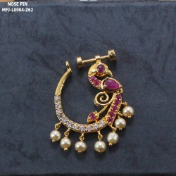 Ruby Stones Peacock Design With Pearls Drops Gold Plated Finish Nose Pin Buy Online