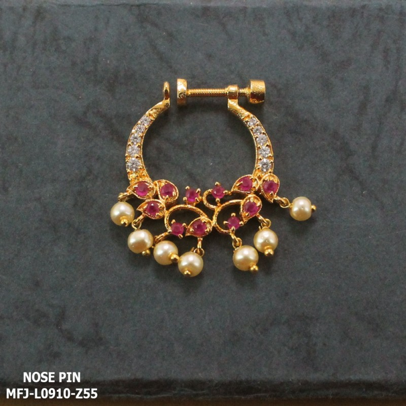 CZ & Ruby Stones Peacock Design With Pearls Drops Gold Plated Finish Nose Pin Buy Online