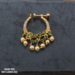 CZ & Ruby Stones Leaves Design With Pearls Drops Gold Plated Finish Nose Pin Buy Online