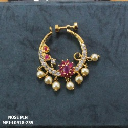 Ruby Stones Flowers & Leaves Design With Pearls Drops Gold Plated Finish Nose Pin Buy Online