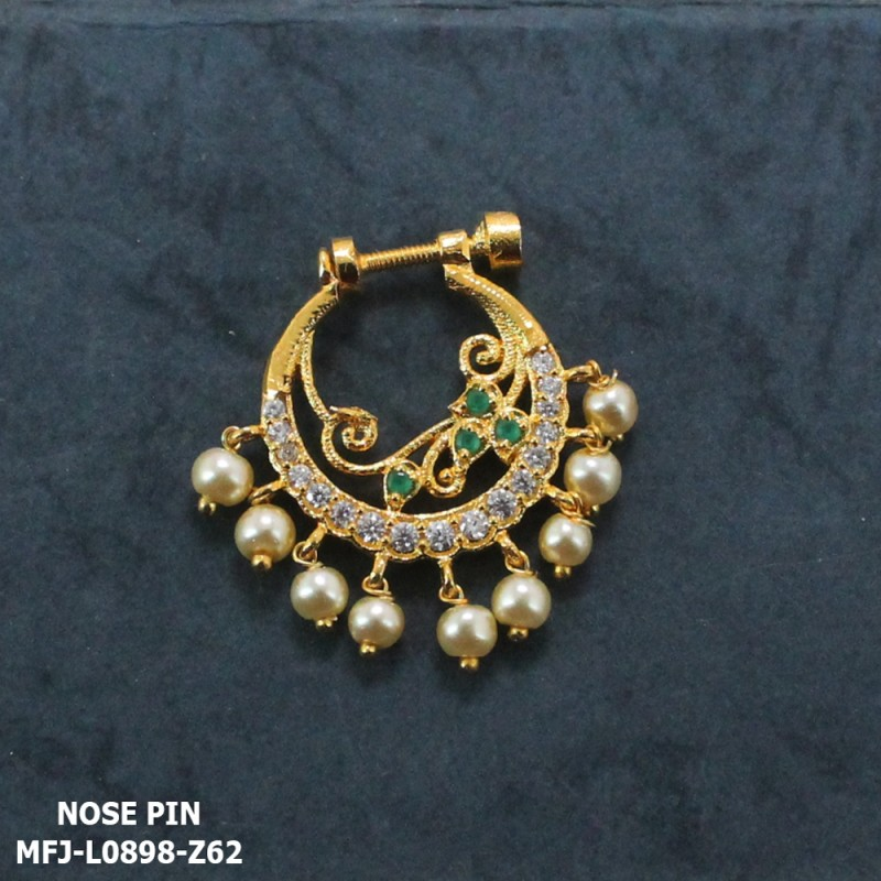 CZ & Emerald Stones Leaves Design With Pearls Drops Gold Plated Finish Nose Pin Buy Online
