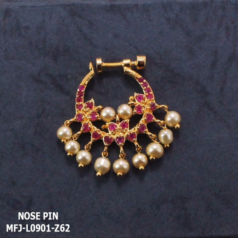 Ruby Stones Leaves Design With Pearls Drops Gold Plated Finish Nose Pin Buy Online