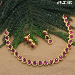 High Quality Kempu Stones Single Line Design Gold Plated Finish Necklace Set Buy Online
