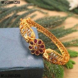 CZ, Ruby & Emerald Stones Peacock & Flowers Design Mat Finish Bracelet Buy Online