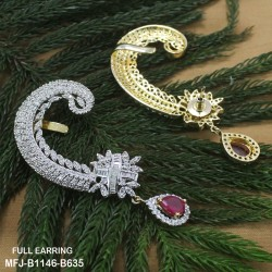 CZ & Ruby Stones Flowers & Drops Design Gold Plated & Rhodium Polish Finish Earrings Buy Online