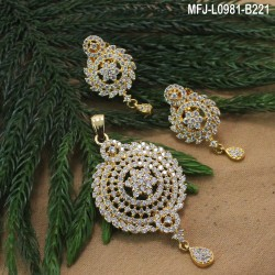 CZ & Ruby Stones Flowers & Leaves Design With Pearls Drops Gold Plated Finish Pendant Set Buy Online
