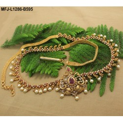 Ruby & Emerald Stones Leaves, Flowers & Mango Design With Pearls Drops Mat Finish Hip Chain Buy Online