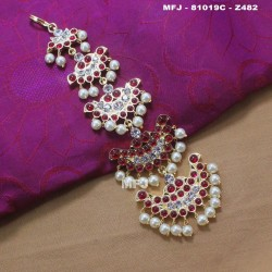 High Quality Kempu & CZ Stones With Pearls Flowers Design Headset For Bharatanatyam Dance And Temple Buy Online