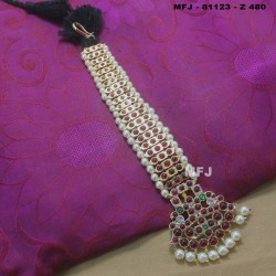 High Quality Kempu & CZ Stones With Pearls Designer Headset For Bharatanatyam Dance And Temple Buy Online