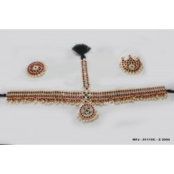 High Quality Kempu & CZ Stones With Pearls Flowers & Leaves Design Headset For Bharatanatyam Dance And Temple Buy Online