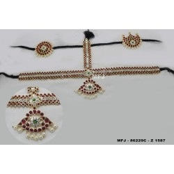 High Quality Kempu & CZ Stones With Pearls Flowers Design 3 Side Headset For Bharatanatyam Dance And Temple Buy Online