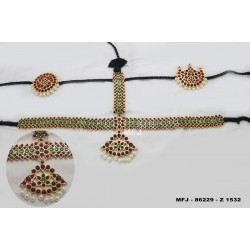High Quality Kempu & CZ Stones With Pearls Flowers & Leaves Design 3 Side Headset For Bharatanatyam Dance And Temple Buy Online