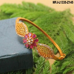 CZ, Ruby & Emerald Stones Flowers & Leaves Design Mat Finish Bracelet Buy Online