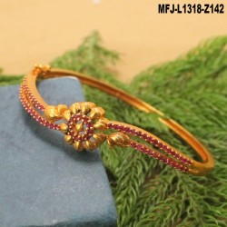 CZ & Ruby Stones Flowers & Leaves Design Mat Finish Bracelet Buy Online